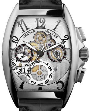 Franck Muller Cintree Curvex Chronograph 8083 CC GD SQT OG B White Gold Black Leather Strap