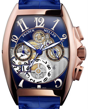 Franck Muller Cintree Curvex Chronograph 8083 CC GD SQT 5N B Rose Gold Blue Leather Strap
