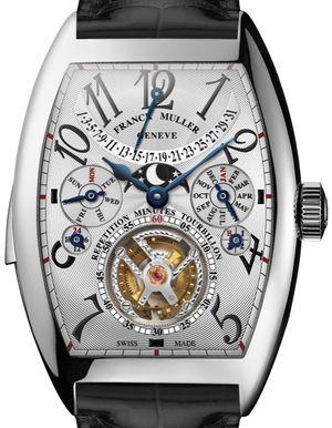 8880 RM T QP White Gold Black Leather Strap Franck Muller Cintree Curvex