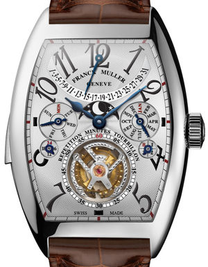 Franck Muller Cintree Curvex 8880 RM T QP White Gold Brown Leather Strap