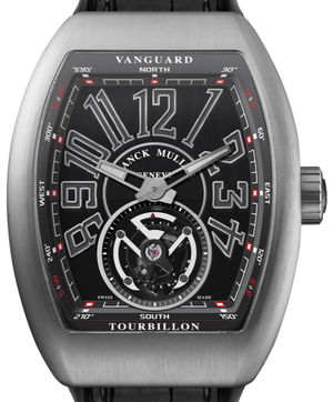 Franck Muller Vanguard Tourbillon V 45 T BR Tourbillon Titanium Black Leather Strap
