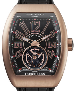 Franck Muller Vanguard Tourbillon V 45 T BR Gold Rose Black Leather Strap
