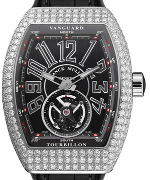 Franck Muller Vanguard Tourbillon V 45 T D Diamond Titanium Black Leather Strap