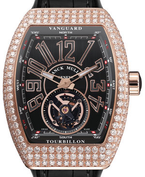 Franck Muller Vanguard Tourbillon V 45 T D Diamond Rose Gold Black Leather Strap
