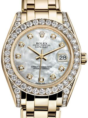 Rolex Pearlmaster 81158 White mother-of-pearl set with diamonds