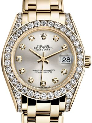 Rolex Pearlmaster 81158 Silver set with diamonds