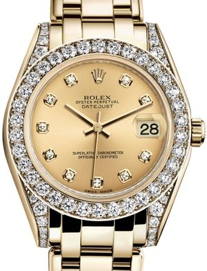 Rolex Pearlmaster 81158 Champagne set with diamonds