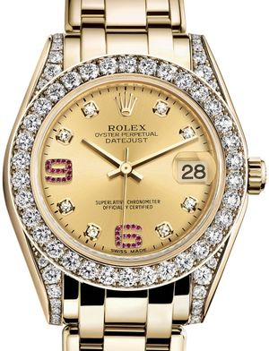 Rolex Pearlmaster 81158 Champagne set with diamonds and rubies