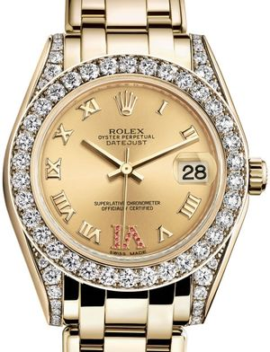 Rolex Pearlmaster 81158 Champagne set with rubies