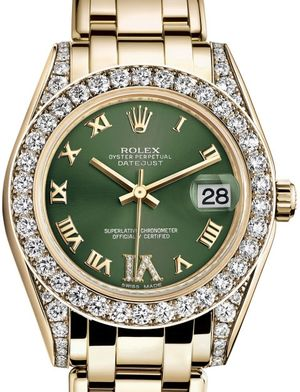 Rolex Pearlmaster 81158 Olive green set with diamonds