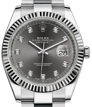 Rolex Datejust 41 126334 Dark rhodium set with diamonds