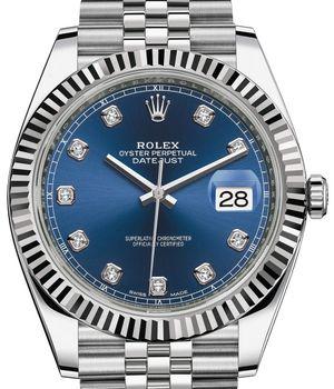Rolex Datejust 41 126334 Blue set with diamonds