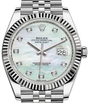 Rolex Datejust 41 126334 White mother-of-pearl set with diamonds