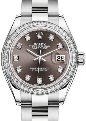 279384RBR Dark grey set with diamonds Rolex Lady-Datejust 28