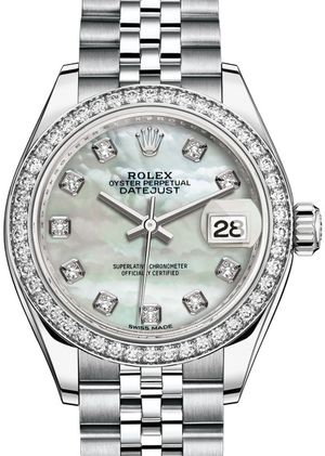 Rolex Lady-Datejust 28 279384RBR White mother-of-pearl set with diamonds