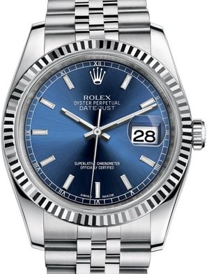 116234 Blue dial stick hour markers Rolex Datejust 36