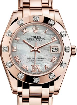 Rolex Pearlmaster 81315 White mother-of-pearl set with diamonds