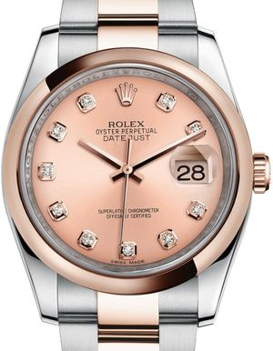 116201Pink set with diamonds Rolex Datejust 36