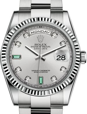 118239 Rhodium set with diamonds and emeralds Rolex Day-Date 36