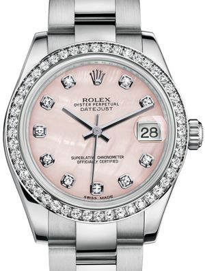 Rolex Datejust 31 178384 Pink mother-of-pearl set with diamonds