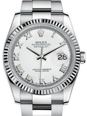116234 White Roman Oyster Bracelet Rolex Datejust 36