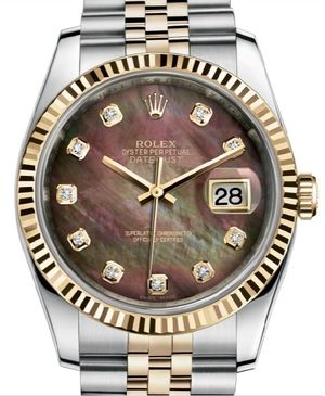 Rolex Datejust 36 116233 Black mother of pearl diamond Jubilee