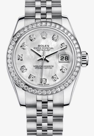 Rolex Lady-Datejust 26 179384 White mother-of-pearl set with diamonds