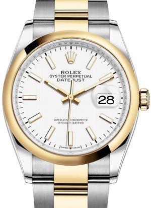 126203 White Index Chromalight Rolex Datejust 36