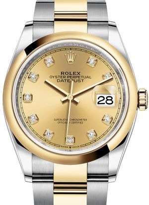 126203 Champagne-colour set with diamonds Rolex Datejust 36