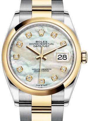 126203 White mother-of-pearl set with diamonds Rolex Datejust 36