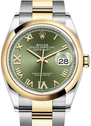126203 Olive green set with diamonds Rolex Datejust 36