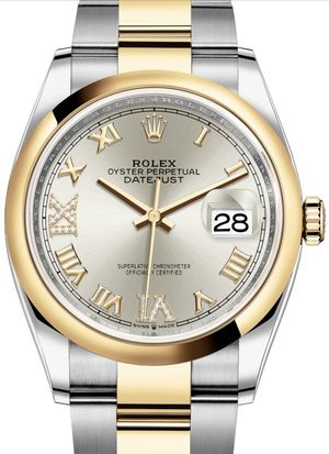 126203 Silver set with diamonds Rolex Datejust 36
