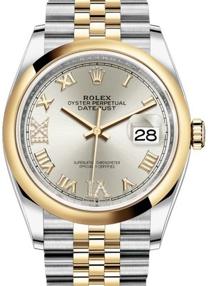 126203 Silver set with diamonds Jubilee Rolex Datejust 36