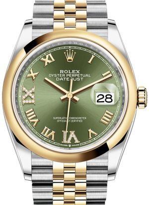 126203 Olive green set with diamonds Jubilee Rolex Datejust 36