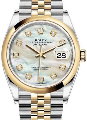 126203 White mother-of-pearl diamonds Jubilee Rolex Datejust 36