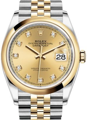 126203 Champagne-colour set with diamonds Jubilee Rolex Datejust 36