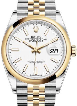 126203 White Index Chromalight Jubilee Rolex Datejust 36