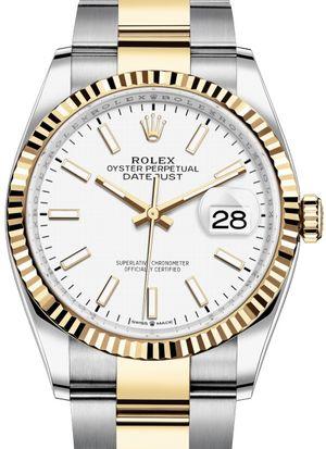 126233 White Index Chromalight Rolex Datejust 36