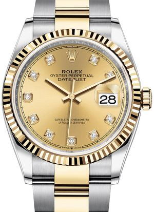 126233 Champagne-colour set with diamonds Rolex Datejust 36