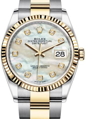 126233 White mother-of-pearl set with diamonds Rolex Datejust 36