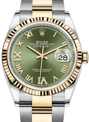 126233 Olive green set with diamonds Rolex Datejust 36