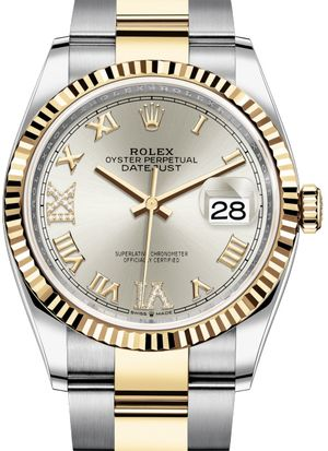 126233 Silver set with diamonds Rolex Datejust 36
