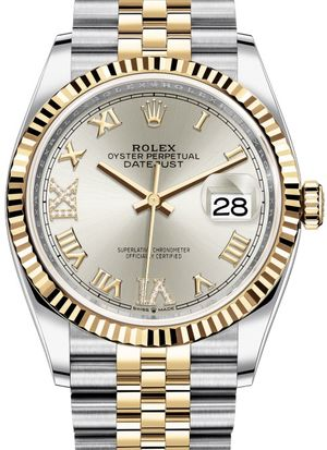 126233 Silver set with diamonds Jubilee Rolex Datejust 36