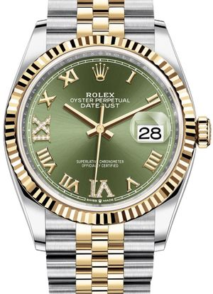 126233 Olive green set with diamonds Jubilee Rolex Datejust 36