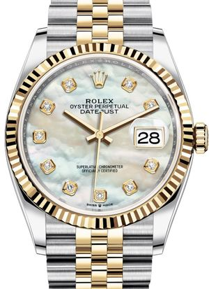 126233 White mother-of-pearl diamonds Jubilee Rolex Datejust 36