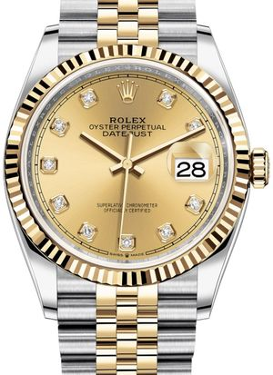 126233 Champagne-colour set with diamonds Jubilee Rolex Datejust 36