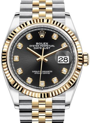 Rolex Datejust 36 126233 Black set with diamonds Jubilee
