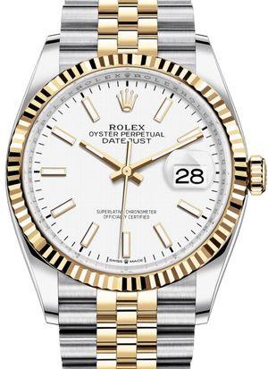 126233 White Index Chromalight Jubilee Rolex Datejust 36