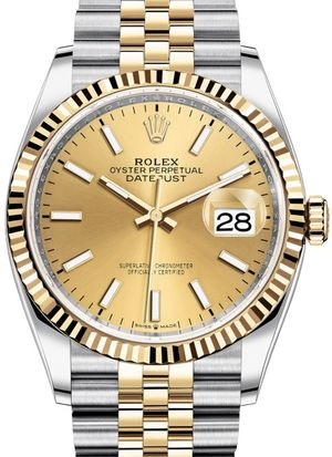 126233 Champagne-colour Jubilee Rolex Datejust 36