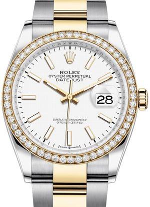 126283RBR White Index Chromalight Rolex Datejust 36
